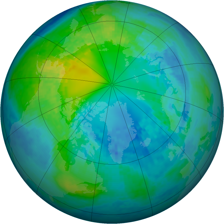 Arctic ozone map for 19 October 2003